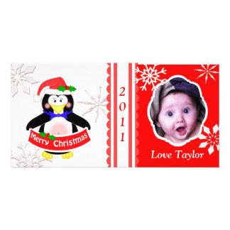 Carte photo de pingouin de Noël des enfants faits  Cartes De Vœux Avec Photo