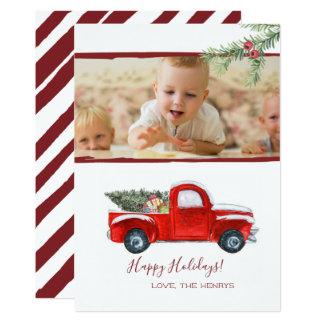 Carte photo de vacances - camion rouge vintage