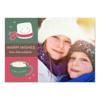 Carte photo de vacances de chocolat chaud de carton d'invitation  12,7 cm x 17,78 cm