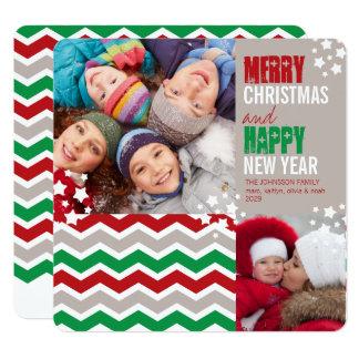 Carte photo de vacances de Joyeux Noël de zigzag