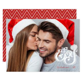 Carte photo de vacances de monogramme de Noël de