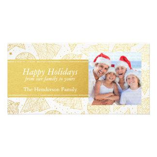 Carte photo de vacances de motif de Noël d'or Modèle Pour Photocarte
