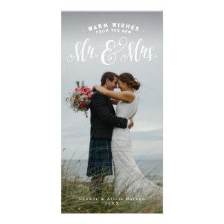 Carte photo de vacances de nouveaux mariés