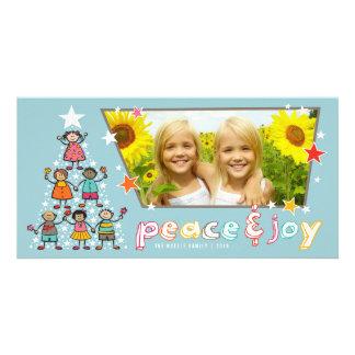 Carte photo de vacances d'enfants d'arbre de Noël Photocarte Personnalisée