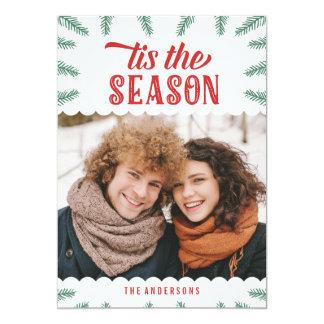 Carte photo de vacances du pin | d'hiver carton d'invitation  12,7 cm x 17,78 cm