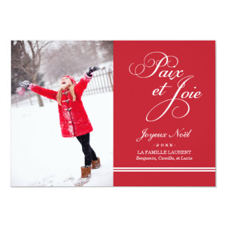 Carte Photo de Vacances | Paix et la Joie en Rouge Carton D'invitation 12,7 Cm X 17,78 Cm