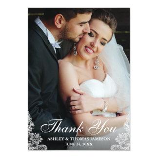 Carte Photo d'équilibre de dentelle de Merci de mariage