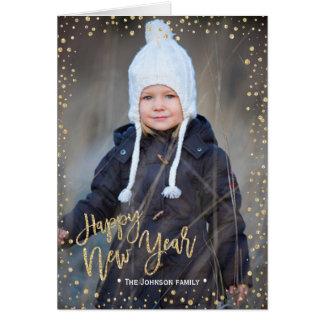 Carte photo des confettis   d'or de la bonne année