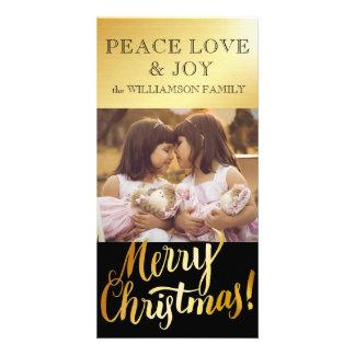 Carte photo d'or de famille de Joyeux Noël