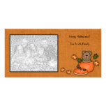 Carte photo d'ours de nounours de citrouille cartes de vœux avec photo