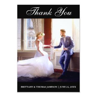 Carte photo élégant BxW de Merci de mariage Carton D'invitation 12,7 Cm X 17,78 Cm