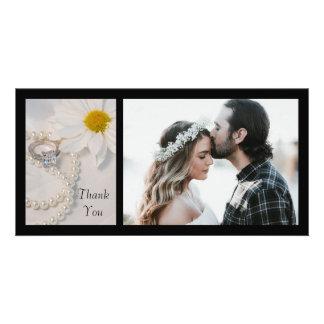 Carte photo élégant de Merci de mariage de