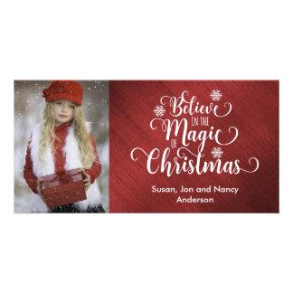 Carte photo élégant de Noël rouge et blanc