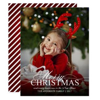 Carte Photo élégante de Joyeux Noël avec le recouvrement