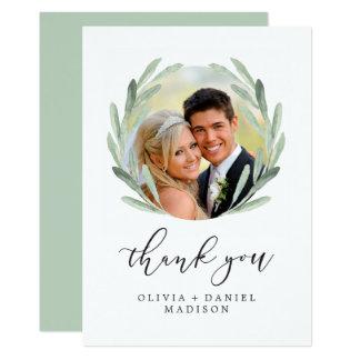 Carte Photo élégante de Merci de mariage de guirlande
