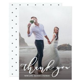 Carte Photo élégante de Merci de mariage de manuscrit de