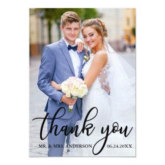 Carte Photo élégante moderne de marié de jeune mariée de