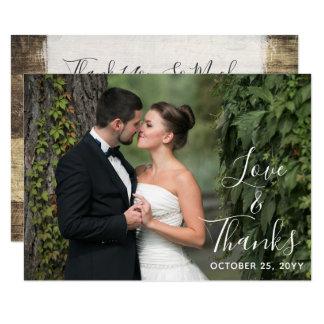 Carte Photo en bois rustique de coutume de mariage de