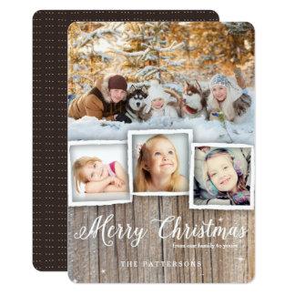 Carte photo en bois rustique de Joyeux Noël de