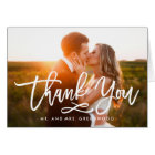 Carte photo en lettres de Merci de mariage de main
