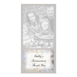 Carte photo floral blanc de Merci de Quinceañera