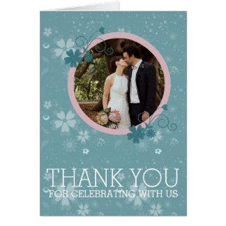 Carte photo floral bleu d'hiver de Merci de