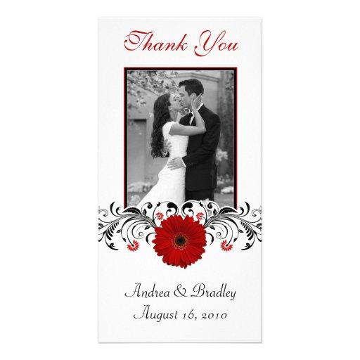 Carte photo floral de Merci de marguerite rouge de Cartes De Vœux Avec Photo