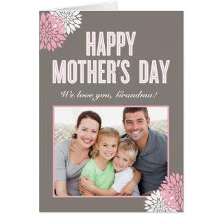 Carte photo floral doux de jour de mères