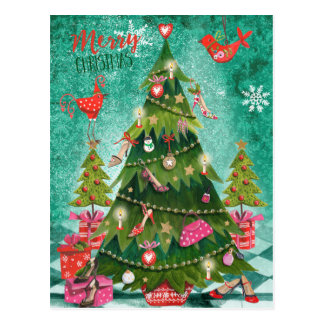 Carte photo Girly de vacances de l'arbre de Noël   Carte Postale