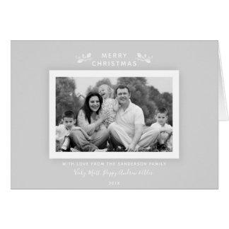 Carte photo gris pâle classique simple de Noël