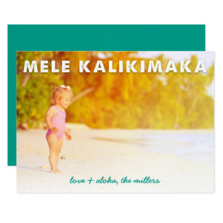 Carte photo hawaïen de vacances de Mele Kalikimaka