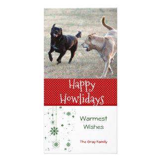 Carte Photo heureuse de Noël de chien de Howlidays |