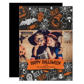 Carte photo heureux de Halloween de tableau mignon Carton D'invitation 12,7 Cm X 17,78 Cm