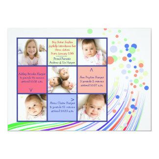 Carte photo heureux de l'arc-en-ciel 5 carton d'invitation  12,7 cm x 17,78 cm