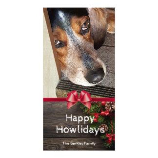 Carte Photo Howlidays heureux de beagle de Noël de chien