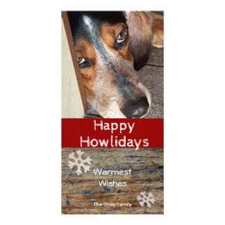 Carte Photo Howlidays heureux de Noël de beagle