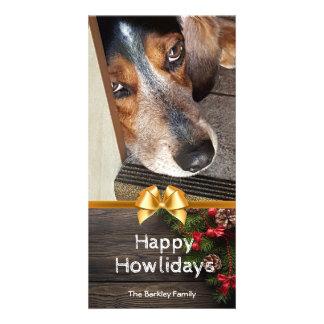 Carte Photo Howlidays heureux de Noël de beagle rustique