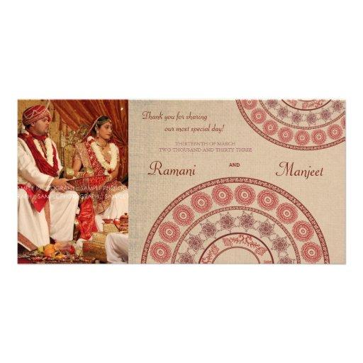 Carte photo indien de Merci de mariage de henné Carte Avec Photo