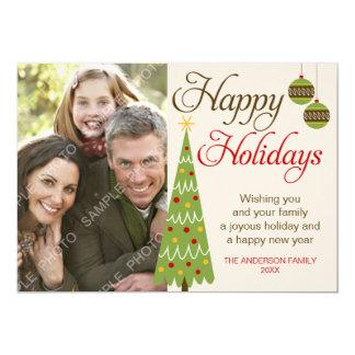 Carte photo lunatique de vacances d'arbre de Noël