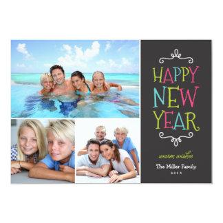 Carte photo lunatique de vacances de bonne année