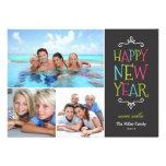 Carte photo lunatique de vacances de bonne année invitations personnalisées