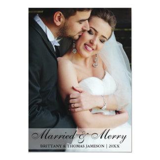Carte photo marié et joyeux de mariage de nouveaux carton d'invitation  12,7 cm x 17,78 cm