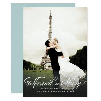 Carte photo marié et joyeux de vacances