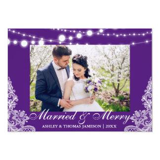 Carte photo marié et joyeux élégant P de vacances