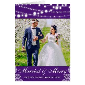 Carte photo marié et joyeux élégant Purp L de
