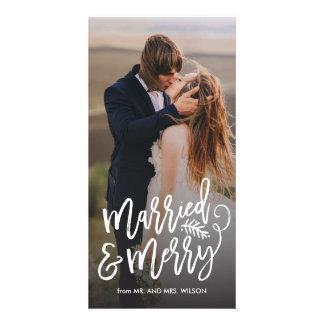 Carte Photo mariée et joyeuse de vacances