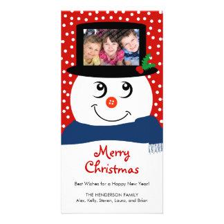Carte photo mignon de bonhomme de neige de Noël Modèle Pour Photocarte