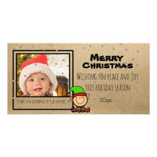 Carte photo mignon de Noël avec l'elfe Photocartes Personnalisées