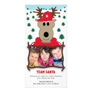 Carte photo mignon de Noël de renne Photocartes Personnalisées