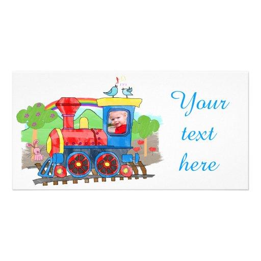 Carte photo mignon de train de vapeur de photo d'e cartes de vœux avec photo